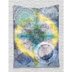 [Seoul lamore]Batik Tapestry Zodiac Wall Decor Astrology Chart Calendar Horoscopes Batik Stars Psychedelic Mandala Hippie Tapestry Hanging Dorm Bedroom Living Room Decorations, Blue Purple Yellow Green - intl