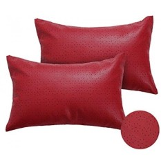 [Seoul Lamore] Deconovo Dekorasi Natal Dot Pola Berlubang Solid Faux Kulit Bantal Meliputi Cushion Covers untuk Patio Furniture 12x18 Merah 2 Pieces-Intl