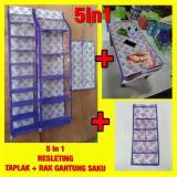 Toko Set 5In1 Rak Sepatu Rak Tas Rak Jilbab Rak Saku Taplak Meja Resleting Gantung H0147A Di Jawa Timur
