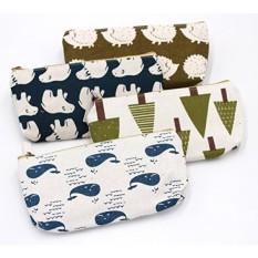 Set dari 4-Hutan Yang Menggemaskan dan Animal Linen Pensil Case Pena Zipper Bag Coin Organizer Makeup Cosmetic Bag Pouch -Intl