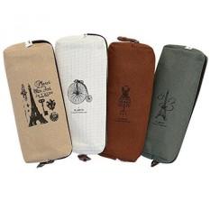 Set dari 4, Ipow Hot Vintage Kanvas Pulpen Pelajar Kotak Pensil Coin Purse Pouch Kosmetik Tas RIAS-Intl