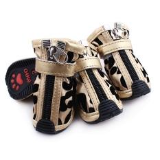 Satu Set 4 Sepatu Boots Kulit Motif Macan Tutul PU For Hewan Peliharaan Anjing Ukuran 5 # (keemasan)