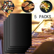 Set of 5 Non-Stick BBQ Grill Mat Works on Gas,Charcoal,Electric Grills Heat Resistant Barbecue Sheets For Grilling Meat, Veggies, Seafood