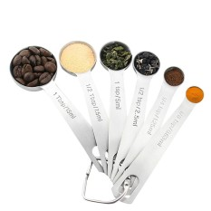 Set of 6 Measuring Spoons Stainless Steel Ergonomic Dry and Liquid Ingredients Narrow Shape Easily Fits in Spice Jars