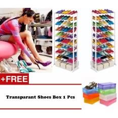 Cara Beli Shoe Rack Foldable 30 Pairs Rak Sepatu 10 Tingkat Free Transparant Shoes Box 1 Pcs