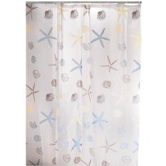 Shower Curtain Kapal Kerang Bintang Laut PEVA Kait Ocean Beach Dekorasi Kamar Mandi -