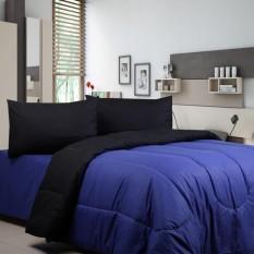 Sierra - Bedcover dan Sprei - Polos Dk Blue x Hitam