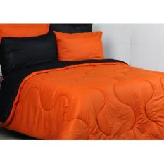 Spesifikasi Sierra Bedcover Dan Sprei Polos Orange X Hitam Online