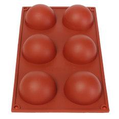Spesifikasi Silikon Fleksibel 6 Rongga Setengah Bola Cokelat Cetakan Sabun Nampan Kue Muffin Murah