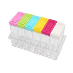 Simida Rumah Penyimpanan 6 Slot Praktis Plastik Dapur Kotak Bumbu Set Kreatif Dapur-Intl