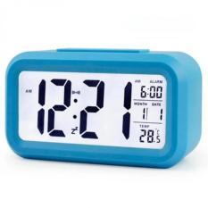 Smart Digital LCD/LED Alarm Clock Temperature Calendar Auto Night Sensor Clock - Blue