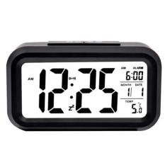 Smart Digital LCD/LED Alarm Clock Temperature Calendar Auto Night Sensor Clock - Black
