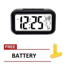 Harga Smart Digital Lcd Led Alarm Clock Temperature Calendar Auto Night Sensor Clock Black Gratis Baterai 3 Pcs Yang Murah Dan Bagus