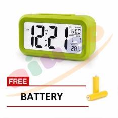 Smart Digital LCD/LED Alarm Clock Temperature Calendar Auto Night Sensor Clock - Green Gratis Baterai 3 Pcs