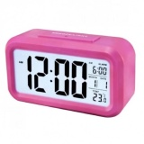 Jual Smart Digital Lcd Led Alarm Clock Temperature Calendar Auto Night Sensor Clock Pink Branded Murah