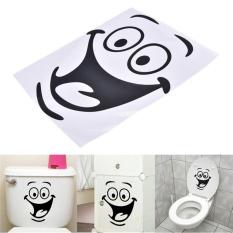 Smile Face Toilet Stiker DIY Furnitur Pribadi Decoration Wall Decals Hitam 18*24 Cm-Intl