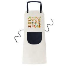 Smiling Fire Cactus Guitar Festival Illustration Cooking Kitchen Beige Adjustable Bib Apron Pocket Women Men Chef Gift - intl