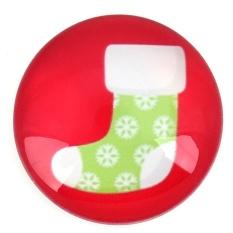 Natal Kepingan Salju Kaus Kulkas Magnet Dekorasi Rumah Kaca Cabochon Sticker (Merah)-Intl