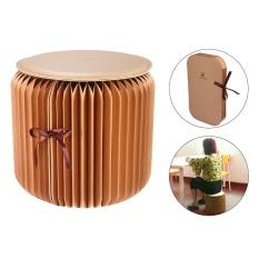 Sobuy Kertas Fleksibel Stool, Portabel Rumah Mebel Desain Kertas Lipat Kursi dengan 1 Pcs Kulit Alas, cokelat Ukuran Kecil-Internasional