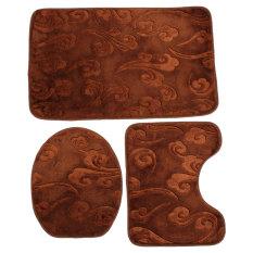 Harga Soft Cotton 3 Pieces Toilet Non Slip Mandi Tikar Alas Washable Floor Rugs Set Coklat Internasional Origin