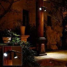 Tenaga Surya Bertenaga LED Anti-Air Ganda-Headed Spotlight 360 Derajat Bisa Diputar Outdécor Keamanan Dinding Lampu untuk Garasi Deck Teras taman