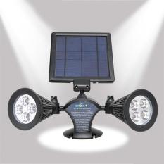 Solar Powered LED Waterproof Double-Headed Spotlight 360 Derajat Rotatable Outdoor Security Wall Lampu untuk Garasi Deck Patio Garden