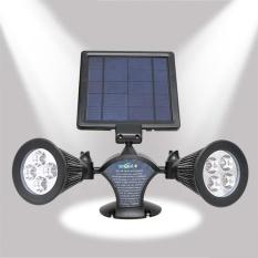 Solar Powered LED Waterproof Double-Headed Spotlight 360 Derajat Rotatable Outdoor Security Wall Lampu untuk Garasi Deck Patio Taman-Internasional