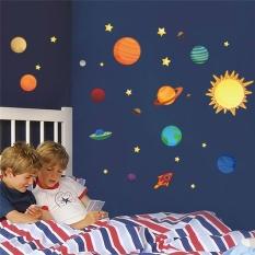 Planet Tata Surya Moon Wall Decals Kids Gift Bedroom Decorative Stiker Diy Kartun Mural Seni PVC Nursery Boys Poster- INTL