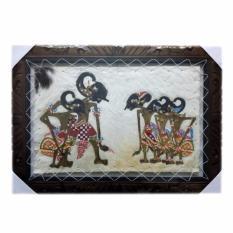 Souvenir Jogja Lukisan Wayang Kulit Pendawa Lima Kulit Kambing - 70x50 cm