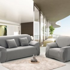 Spandex Stretch Sofa Cover Elastisitas Polyester Solid Warna Sofa Cover Roda Sofa Furniture Cover-Intl