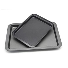 Persegi Panggang Lembar Homemade Memasak Bakeware Non-stick Lapisan Kue Pizza Pembuatan Roti Piring Pan Oven Spesifikasi: besar + Kecil-Internasional