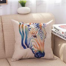 Toko Pola Sarung Bantal Persegi Perlindungan Hewan Badak Jerapah Zebra Rusa Kuda Zebra Elenxs Online