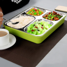 Spesifikasi Stainless Steel 304 Disegel Kotak Makan 4 Kompartemen Tetap Hangat Hijau International Paling Bagus