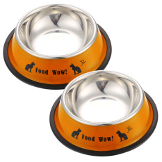 Stainless Steel Anti Selip Kucing Anjing Mangkuk Makanan Hewan Peliharaan Alat Makan Air Jeruk