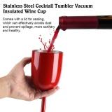Review Stainless Steel Cocktail Tumbler Vacuum Insulated Wine Cup Minuman Jus Goblet Dengan Tutup Merah Intl Di Tiongkok