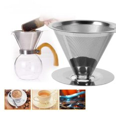 Miliki Segera Filter Kopi Stainless Steel Filter V Type Filter Filter Cone Filter Drip Coffee Maker Tool Set For Rumah Kantor