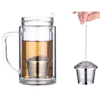Stainless Steel Locking Spice Tea Strainer Mesh Infuser Tea Ball Filter, Tengah Ukuran: 6.5