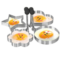 Jual Stainless Steel Dadar Goreng Telur Cincin Pancake Cetakan Set Of Heart Star Round Flower Shaped Murah Tiongkok