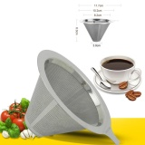 Toko Stainless Steel Pour Over Cone Coffee Dripper Double Layer Mesh Filter Paperless Home Kitchen Coffee Shop Coffee Brewing Helper Intl Yang Bisa Kredit