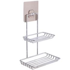 Stainless Steel Wall Mounted Lengket Shower Kamar Mandi Dapur Rak Rak Holder Dual Layer For Sabun Bath Towel Cleaning Persediaan Pasuruan, Gadget-Intl