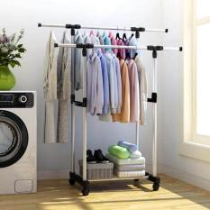Stand Hanger Double - Rak Serbaguna Dobel Dengan 4 Roda