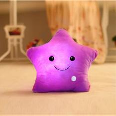 Pendar Bintang Bercahaya Cahaya Lembut Bantal Santai Hadiah Smile Purple-Intl
