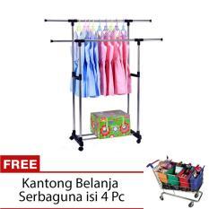 StarHome Jemuran Baju - Rak Pakaian Lipat - Drying Rack 2 Tiang Gantungan Baju - Silver + FREE Kantong Belanja Serbaguna isi 4 Pc