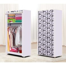 StarHome Lemari Baju Single dengan 1 Gantungan Baju - Lemari Pakaian Portable - Cloth Rack Motif Milk