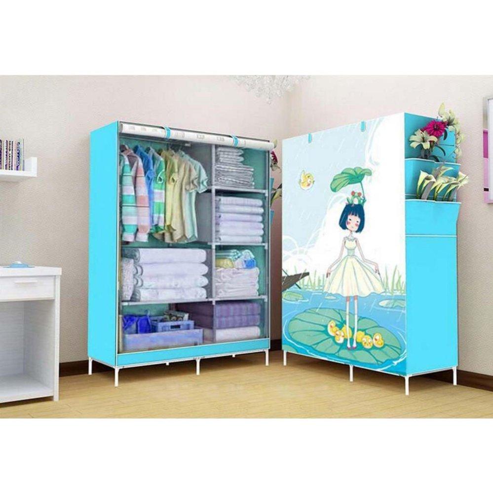 Harga Terjangkau Starhome Lemari Baju Rak Pakaian Dengan 1 Gantungan Pakian Portable Memperindah Ruangan Kamar Multifungsi Tempat Dan Penutup Debu Biru