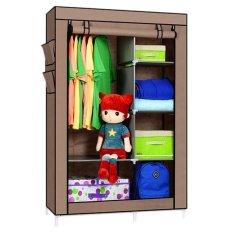StarHome Lemari Pakaian Multifungsi dengan Tempat Gantungan Baju dan Penutup Debu- Lemari Portable - Organizer Pakaian - Coklat