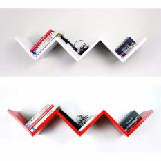 StarHome Rak Buku Melayang - Rak Dinding 1 Set isi 2 Pc - Set Wall Floating Shelves - Tangga - Putih
