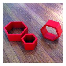 Promo Starhome Rak Buku Melayang Rak Dinding 1 Set Isi 3 Pc Set Wall Floating Shelves Hexagon Merah