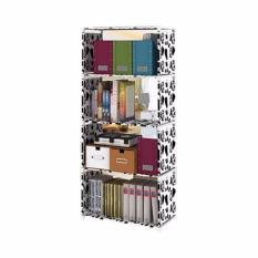 StarHome Rak Buku Serbaguna 4 Susun - Lemari Buku Portable - Motif Sapi - Multicolor