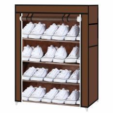 Toko Starhome Rak Sepatu 4 Susun Dengan Penutup Debu Portable Shoe Rack With Dust Cover Coklat Dekat Sini
